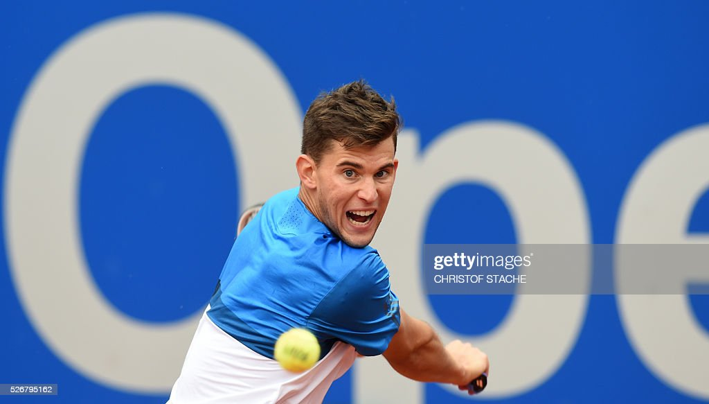 Austrian Dominic Thiem returns the ball during his final match against Germany's Philipp Kohlschreiber at the ATP tennis BMW Open in Munich, southern Germany, on May 1, 2016. / AFP / CHRISTOF