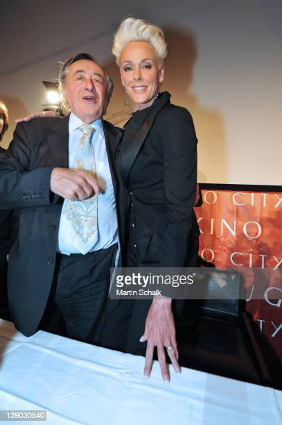 Austrian entrepreneur Richard Lugner and Brigitte Nielsen attend a press conference at Lugner City on February 15 2012 in Vienna Austria Danish model...