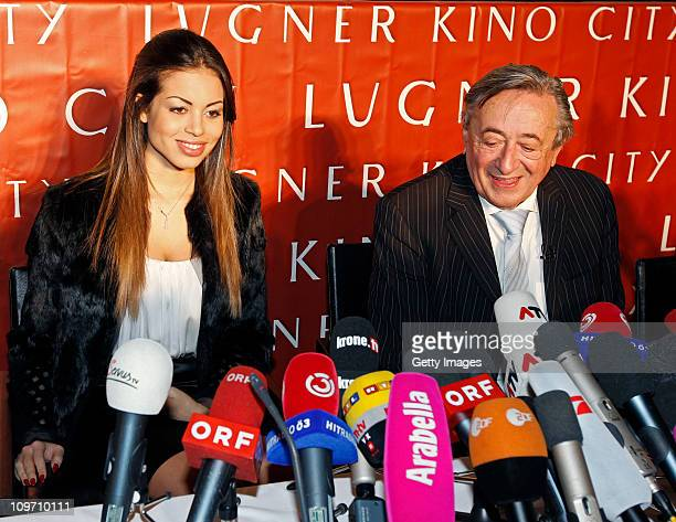 Austrian entrepreneur Richard Lugner and Moroccanborn pole dancer Karima El Mahroug nicknamed 'Ruby the Heart Stealer' attend a press conference at...