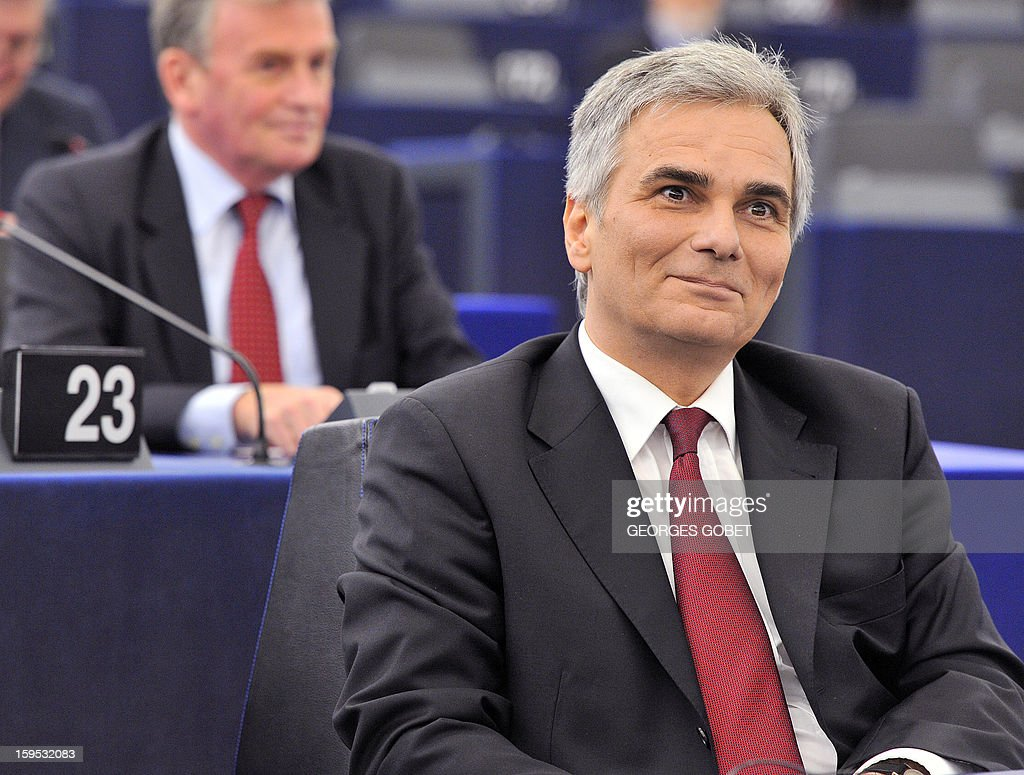 Austrian Federal Chancellor Wermer Faymann is pictured prior to a debate on the future of European Union at the European Parliament in Strasbourg on January 15, 2013 during a plenary session. AFP PHOTO GEORGES GOBET