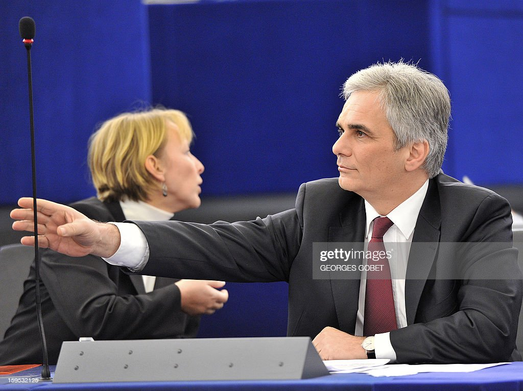 Austrian Federal Chancellor Wermer Faymann is pictured prior to a debate on the future of European Union at the European Parliament in Strasbourg on January 15, 2013 during a plenary session.