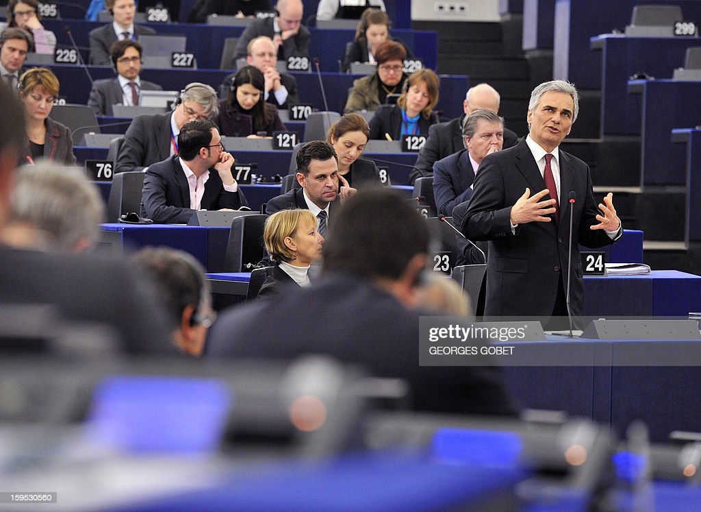 Austrian Federal Chancellor Wermer Faymann makes a statement prior to a debate on the future of European Union at the European Parliament in Strasbourg on January 15, 2013 during a plenary session.