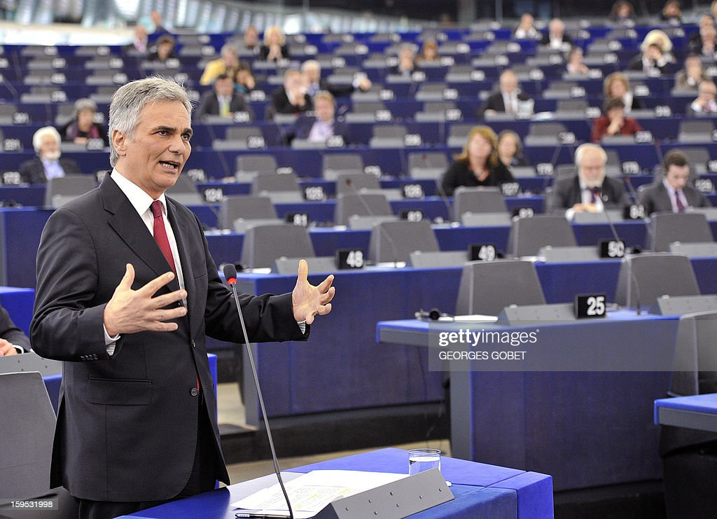 Austrian Federal Chancellor Wermer Faymann makes a statement prior to a debate on the future of European Union at the European Parliament in Strasbourg on January 15, 2013 during a plenary session. AFP PHOTO GEORGES GOBET