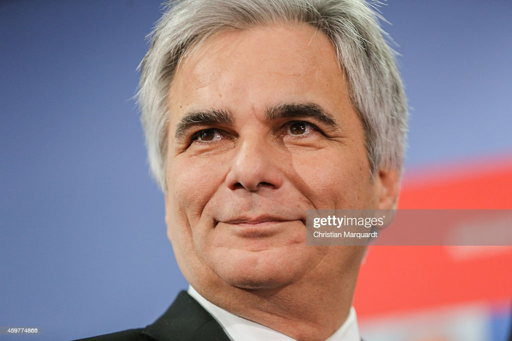 Austrian Federal Chancellor <a gi-track='captionPersonalityLinkClicked' href=/galleries/search?phrase=Werner+Faymann&family=editorial&specificpeople=4101130 ng-click='$event.stopPropagation()'>Werner Faymann</a> attends a book presentation of 'So kann Europa gelingen' on December 1, 2014 in Berlin, Germany. Important political and economic decision-makers in Europe comment in interviews for a social and strong Europe.
