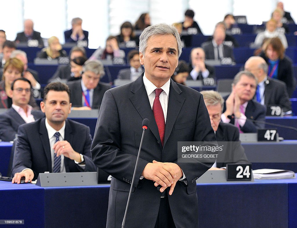 Austrian Federal Chancellor Werner Faymann makes a statement prior to a debate on the future of European Union at the European Parliament in Strasbourg on January 15, 2013 during a plenary session. AFP PHOTO GEORGES GOBET
