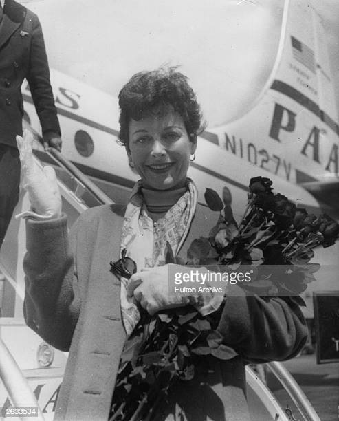 Austrian film actress Hedy Lamarr arriving in Paris