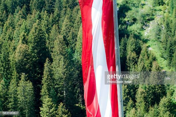 Austrian flag in the Alps