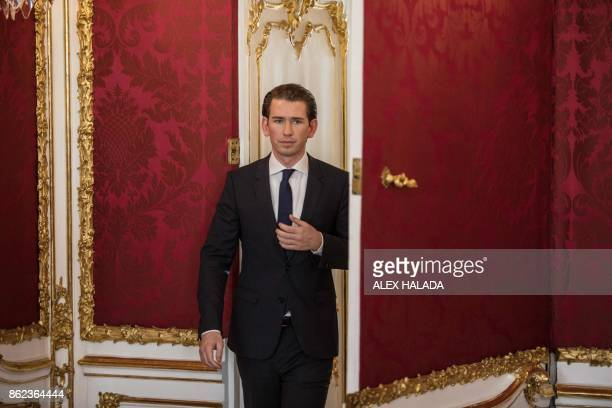 Austrian Foreign Minister and Chairman of the Austrian People's Party Sebastian Kurz arrives to deliver a statement after a meeting with the Austrian...