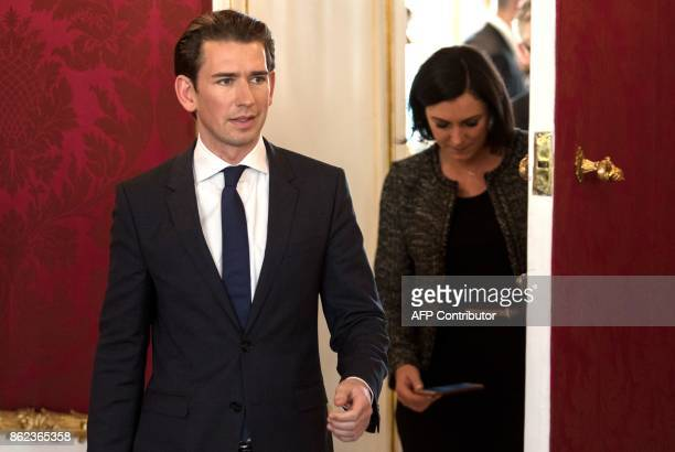 Austrian Foreign Minister and Chairman of the Austrian People's Party Sebastian Kurz and general secretary of the OeVP Elisabeth Koestinger arrive to...