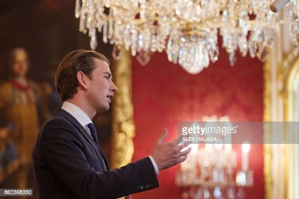 Austrian Foreign Minister and Chairman of the Austrian People's Party Sebastian Kurz delivers a statement after a meeting with the Austrian President...