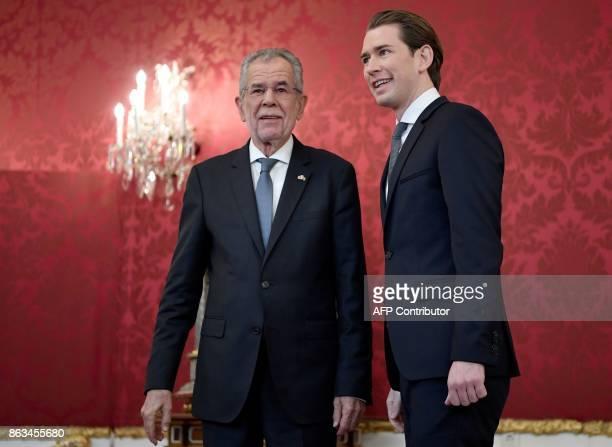 Austrian Foreign Minister and Chairman of the Austrian People's Party Sebastian Kurz is welcomed by Austrian President Alexander Van der Bellen...