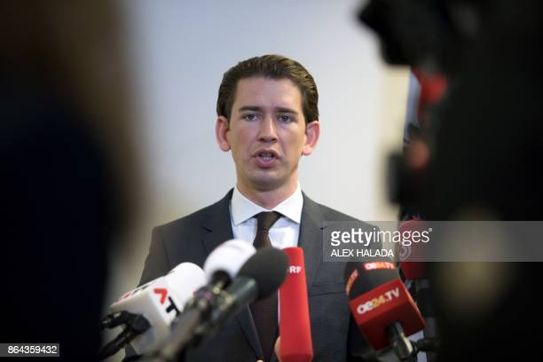 Austrian Foreign Minister and chairman of the Austrian People's Party Sebastian Kurz speaks during a press conference following talks with the...