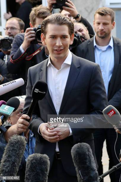 Austrian Foreign Minister and leader of the conservative Austrian People's Party Sebastian Kurz speaks to media as he leaves after casting his ballot...