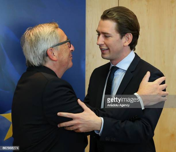 Austrian Foreign Minister meets with Chairman of the Austrian People's Party Sebastian Kurz and European Commission President JeanClaude Juncker in...