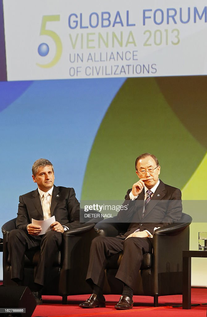 Austrian Foreign Minister Michael Spindelegger (L) and UN Secretary General Ban Ki-Moon attend the opening session of the 5th Global Forum - UN Alliance of Civilizations on February 27, 2013 in Vienna. According to the organizers, the meeting running from February 27 to 28 brings together decision-makers, experts, and a variety of stakeholders in the field of intercultural and interreligious dialogue from all over the world.