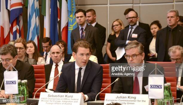 Austrian Foreign Minister Sebastian Kurz and European Commissioner for the Security Union Julian King take part in the Organization for Security and...