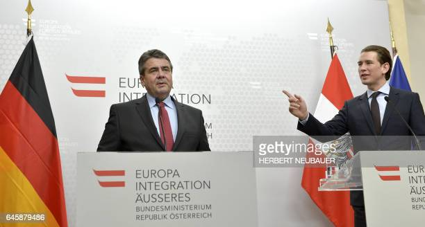 Austrian Foreign Minister Sebastian Kurz and his German counterpart Sigmar Gabriel attend a joint a press conference in Vienna Austria on February 27...