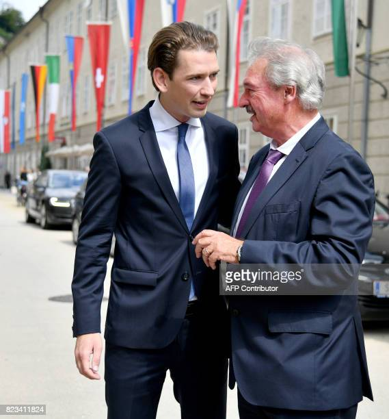 Austrian Foreign Minister Sebastian Kurz and Luxemburg's Foreign Minister Jean Asselborn arrive for the opening ceremony of the Salzburg Festival...