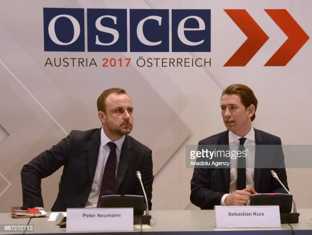 Austrian Foreign Minister Sebastian Kurz and OSCE's special representative on combating radicalisation Peter Neumann attend a press conference...