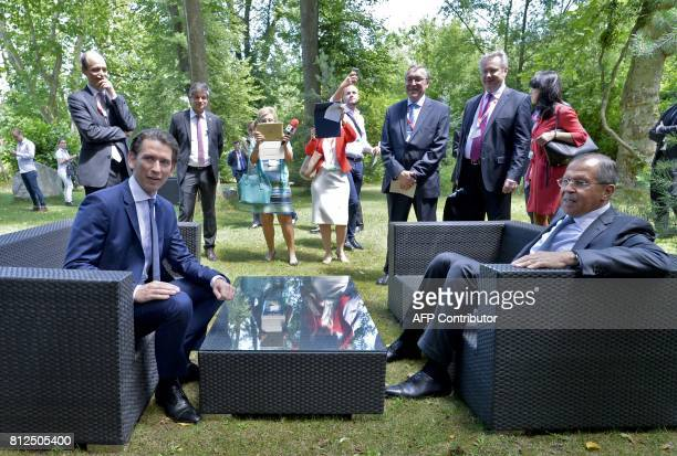 Austrian Foreign Minister Sebastian Kurz and Russian Minister of Foreign Affairs Sergei Lavrov pose for a photo during the OSCEmeeting 'Building...