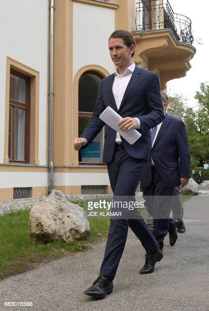 Austrian Foreign Minister Sebastian Kurz arrives to hold a press conference after being appointed as head of the country's centreright People's Party...