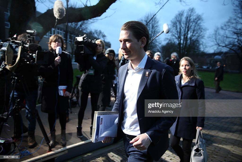 Austrian Foreign Minister Sebastian Kurz arrives to take part arrives to take part in Informal Gymnich meeting of EU foreign ministers in Amsterdam, Netherlands on February 6, 2016.