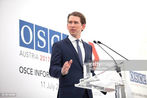 Austrian Foreign Minister Sebastian Kurz attends a press conference during the OSCEmeeting 'Building Trust through Dialogue and Cooperation' in...