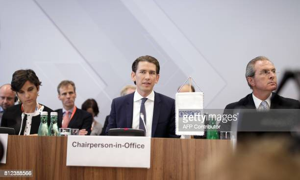 Austrian Foreign Minister Sebastian Kurz attends the opening session of the OSCE Informal Ministerial Meeting on July 11 2017 in Mauerbach Austria /...