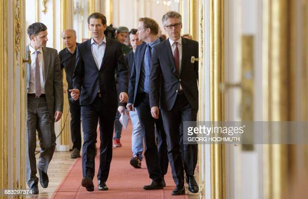 Austrian Foreign Minister Sebastian Kurz designated head of the Austrian People's Party is pictured at the Austrian President's office during a...