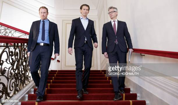 Austrian Foreign Minister Sebastian Kurz designated head of the Austrian People's Party his spokesman Gerald Fleischmann and Christian Ebner member...