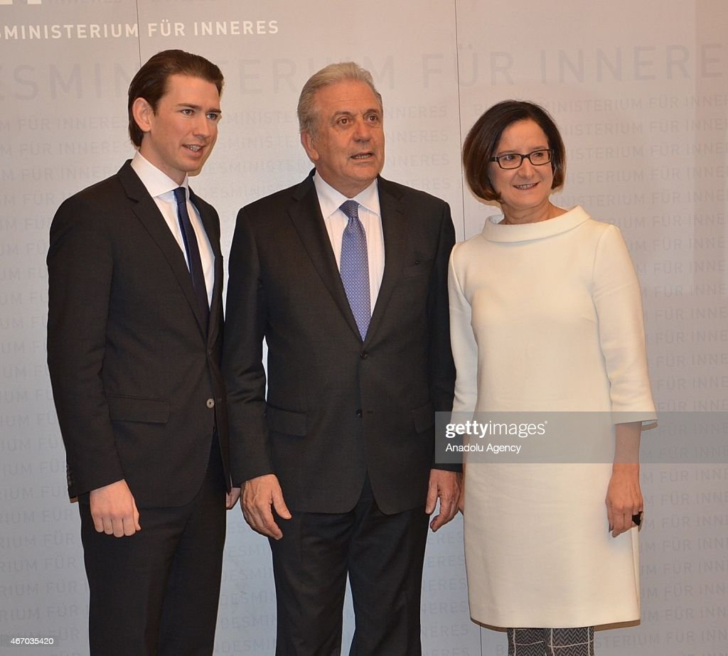 Austrian Foreign Minister Sebastian Kurz EU Commissioner of Migration and Home Affairs Dimitris Avramopoulos and Austrian Interior Minister Johanna...