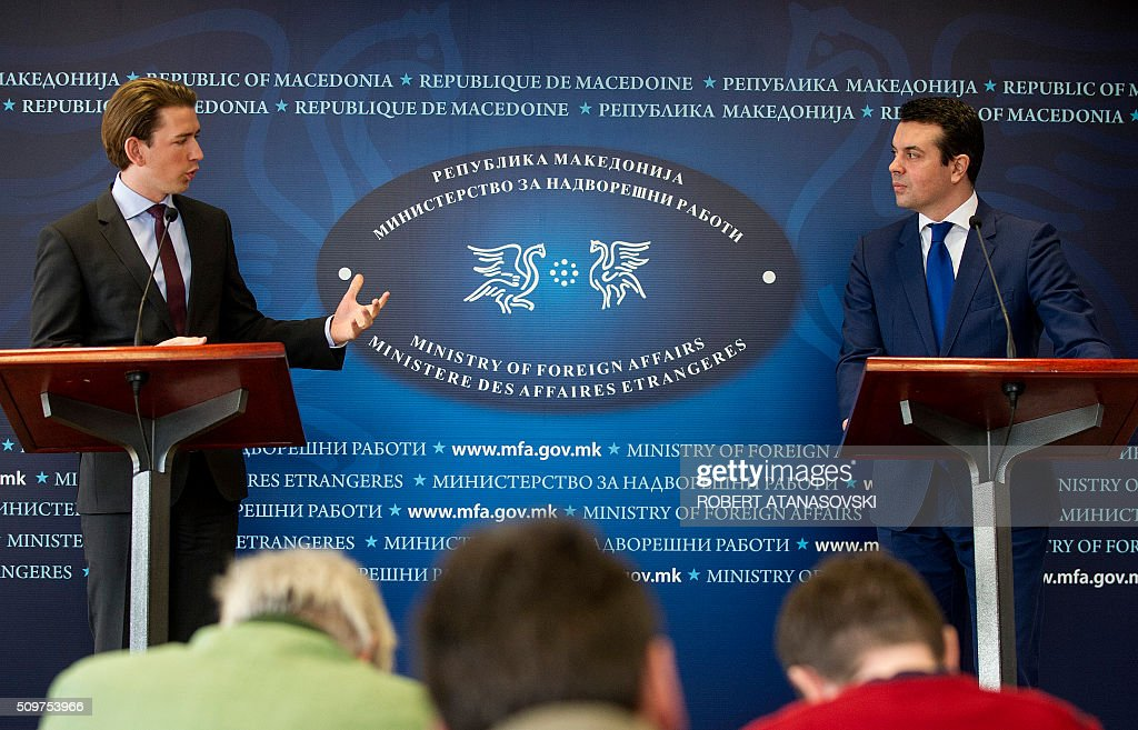 Austrian Foreign minister Sebastian Kurz (L) gestures during a press conference with Macedonian Foreign Minister Nikola Popovski in Skopje on February 12, 2016. Sebastian Kurz visit Macedonia at the end of his Balkan tour. / AFP / Robert ATANASOVSKI