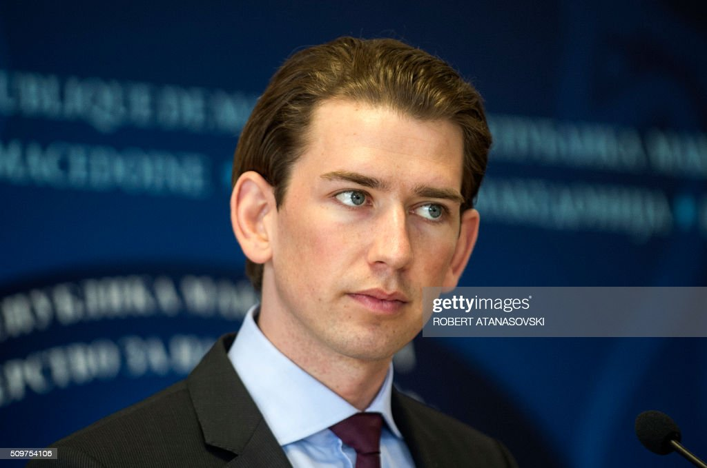 Austrian Foreign minister Sebastian Kurz gives a press conference in Skopje on February 12, 2016. 6. Sebastian Kurz visit Macedonia at the end of his Balkan tour. / AFP / Robert ATANASOVSKI