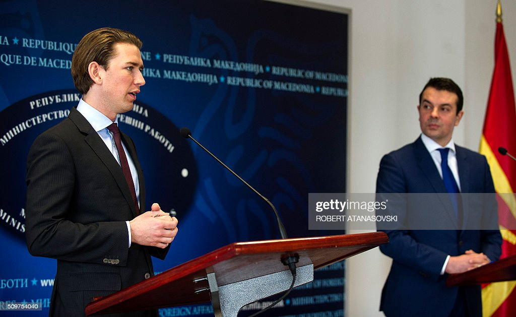 Austrian Foreign minister Sebastian Kurz (L) gives a press conference with Macedonian Foreign Minister Nikola Popovski in Skopje on February 12, 2016. Sebastian Kurz visit Macedonia at the end of his Balkan tour. / AFP / Robert ATANASOVSKI