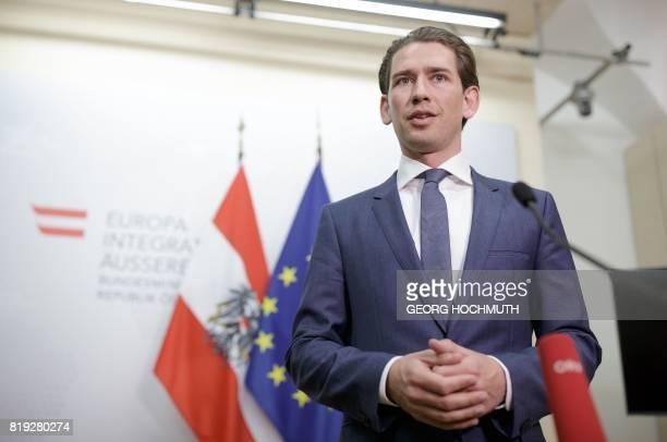 Austrian Foreign Minister Sebastian Kurz gives a press statement after the visit of Italian Foreign Minister Angelino Alfano in Vienna Austria on...