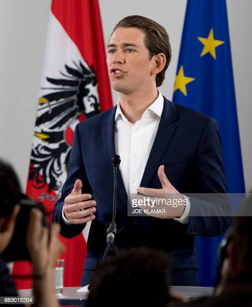 Austrian Foreign Minister Sebastian Kurz holds a press conference after being appointed as head of the country's centreright People's Party on May 14...