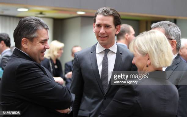 Austrian Foreign Minister Sebastian Kurz is seen during the meeting of the EU Foreign Affairs Council at EU Council building in Brussels Belgium on...