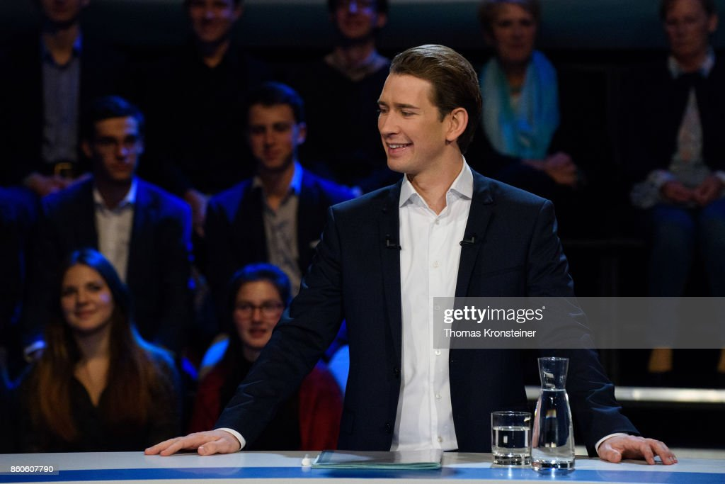 Austrian Foreign Minister Sebastian Kurz of Austrian Peoples Party (OeVP) is seen at ORF studios ahead the 'Elefantenrunde' television debate between the lead candidates prior to legislative elections on October 12, 2017 in Vienna, Austria. Austria will hold elections on October 15 and many analysts are predicting a win for the conservative Austrian People's Party (OeVP) of Sebastian Kurz, though that the next government coalition will very likely include the right-wing Austria Freedom Party (FPOe).