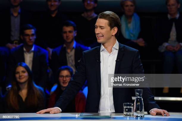 Austrian Foreign Minister Sebastian Kurz of Austrian Peoples Party is seen at ORF studios ahead the 'Elefantenrunde' television debate between the...