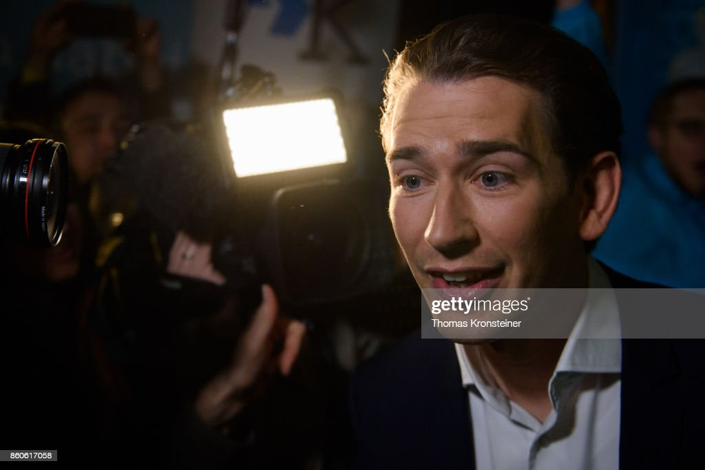 Austrian Foreign Minister Sebastian Kurz of Austrian Peoples Party (OeVP) arrives at ORF studios for the 'Elefantenrunde' television debate between the lead candidates prior to legislative elections on October 12, 2017 in Vienna, Austria. Austria will hold elections on October 15 and many analysts are predicting a win for the conservative Austrian People's Party (OeVP) of Sebastian Kurz, though that the next government coalition will very likely include the right-wing Austria Freedom Party (FPOe).