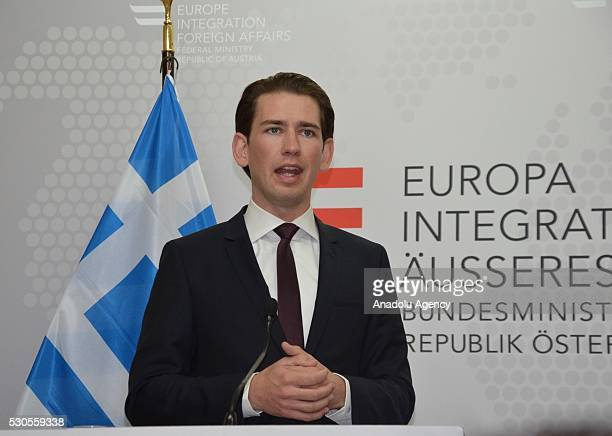Austrian Foreign Minister Sebastian Kurz speaks during a joint press conference with his Greek counterpart after their talks in Vienna Austria on May...