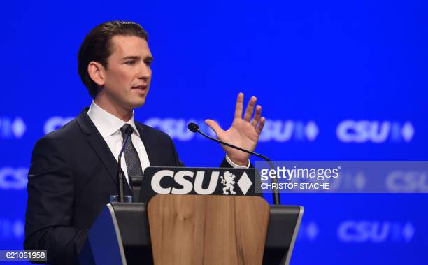 Austrian Foreign Minister Sebastian Kurz speaks during the party congress of the German Christian Social Union Party in Munich southern Germany on...