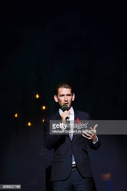 Austrian Foreign Minister Sebastian Kurz speaks on stage during the Red Ribbon Celebration Concert at Burgtheater on June 10 2016 in Vienna Austria...
