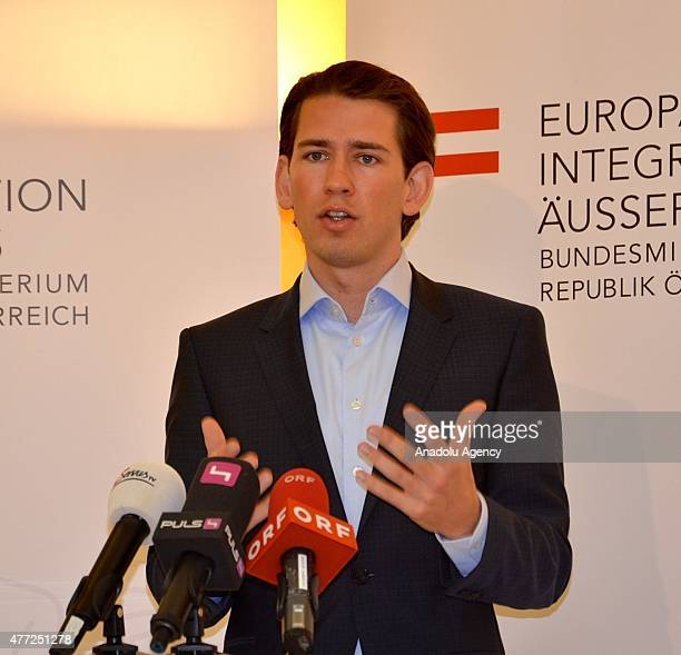 Austrian Foreign Minister Sebastian Kurz speaks to journalists prior to the 'Islamic Conference' at Diplomatic Academy Vienna on June 15 2015 in...