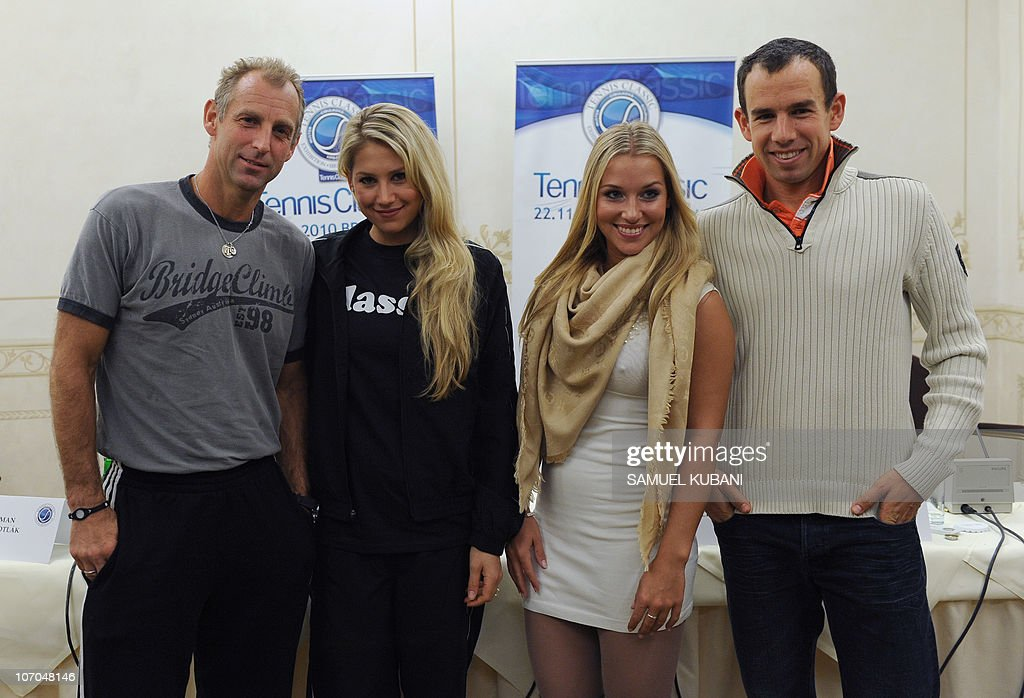 Austrian former tennis player Thomas Muster (L), Russian former tennis player Anna Kurnikova and Slovakian tennis players Dominika Cibulkova and Dominik Hrbaty pose after a press conference on November 21,2010 in Bratislava. Muster and Kurnikova will play a charity exhibition match against Hrbaty and Cibulkova on November 22 in Bratislava's tennis arena.