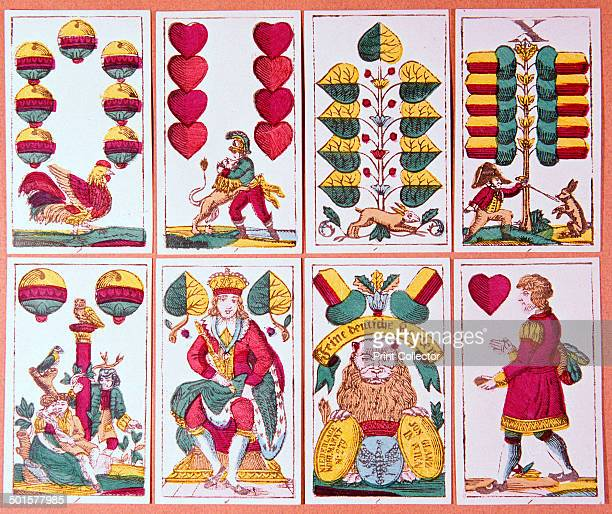Austrian fortunetelling cards from a pack of 32 showing acorns hearts bells and leaves