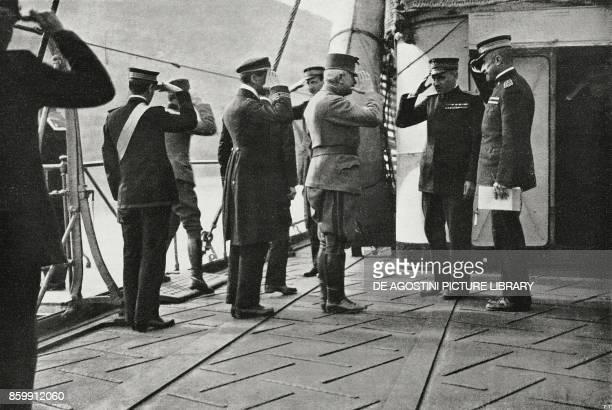 Austrian general Pflanzer Baltin on board of the Italian explorer Quarto Kotaro Montenegro World War I from l'Illustrazione Italiana Year XLV No 50...