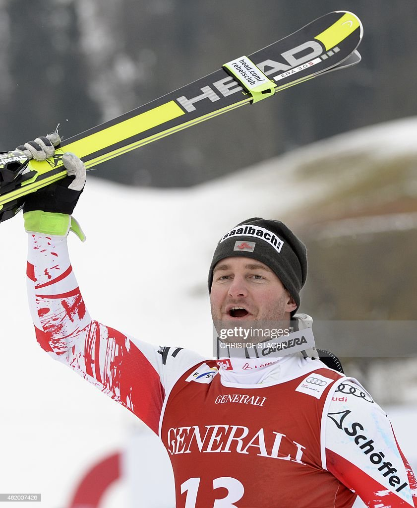 Austrian Georg Streitberger celebrates after the men's downhill Super G race of the FIS Alpine Skiing World Cup in Kitzbuehel Austria on January 23...