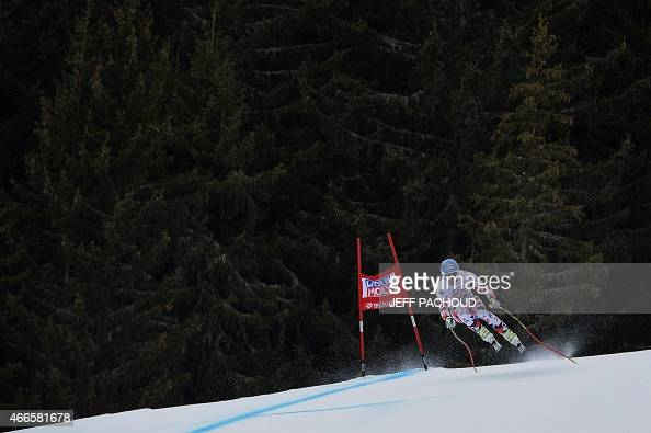 Austrian Georg Streitberger practices on March 17 2015 during the FIS men's alpine skiing World Cup downhill training finals in the French alpine ski...