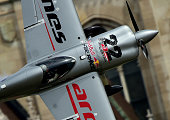 Austrian Hannes Arch of Hannes Arch Racing with his Edge 540 V3 competes during the Red Bull Air Race World Championship over the river Danube in...